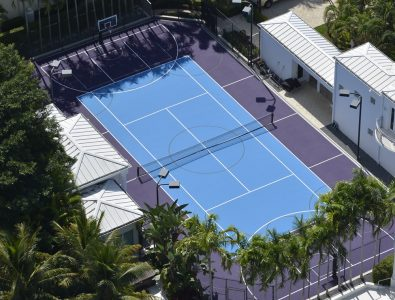 Laykold Masters 5 cushioned tennis court surfacing.