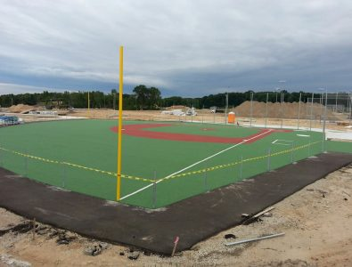 Miracle League all-rubber field in construction phase.