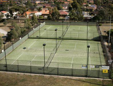 OmniCourt outdoor turf tennis courts.