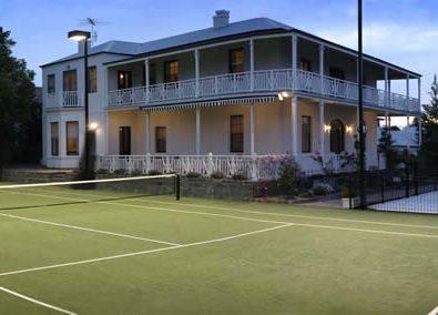 OmniCourt turf tennis court surfacing.