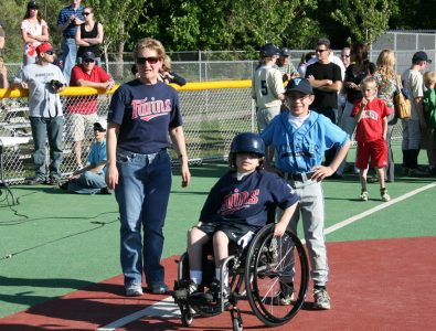 Safe at third! Miracle League baseball field.