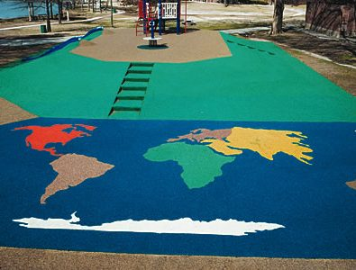 World graphics in EverTop and elevated section in PlayBound Poured-in-Place.