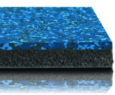 Performance Interlocking Tile's rubber underlayment bonded to rubber top wear layer.
