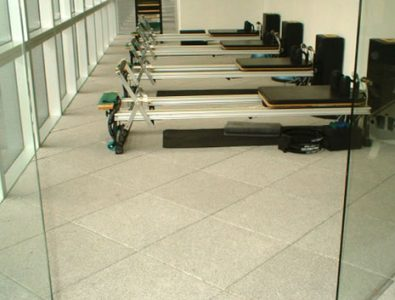 Gym equipment on diagonally-laid UltraTile.