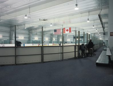 Everlast Roll ice rink surround flooring.