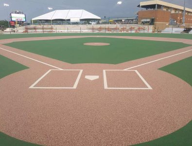 Miracle League Baseball all-rubber field almost ready for play.