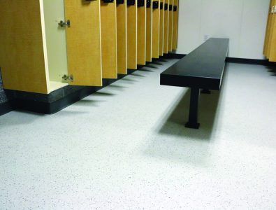 Aqueous vinyl roll floor.