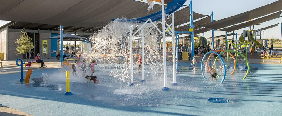 An installation of the AquaFlex product in use at a water park