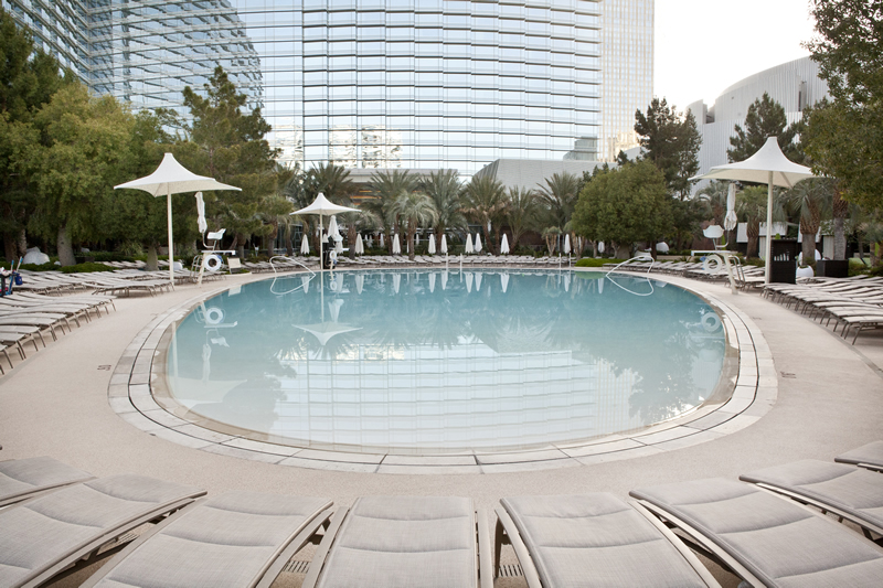 A High Performance Pool Deck At Aria Resort And Casino In