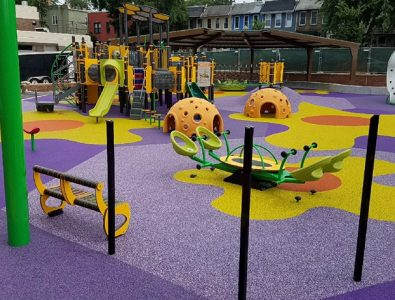 Colorful PlayBound Poured-in-Place surface at Ludlow Taylor Elementary School in Washington DC.