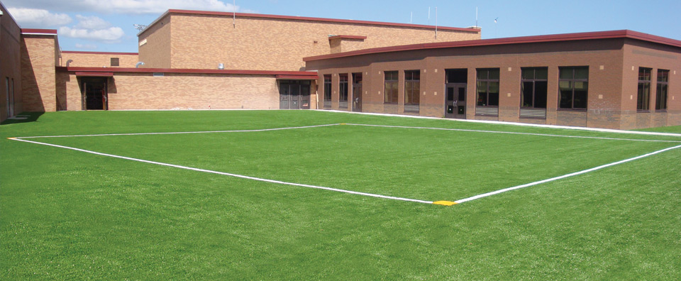 An installation of green RecSport Turf at a school location