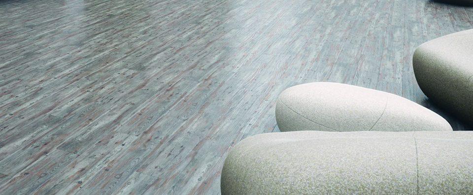 Spectator vinyl tile floor.